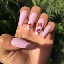BUTTERFLIES 🦋Coffin Style Press-On Nails Long Length