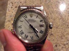Rolex Datejust Mens Stainless Steel Watch White Roman Buckley Dial Vintage 1603