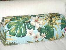 Hawaiian Cotton Barkcloth Fabric CORDED BOLSTER PILLOW ~Hibiscus Garden-Sky~