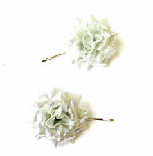 2 Silver Metallic Rose Flower Hair Grips Clips Bridesmaid Bobby Pins Slides 2114
