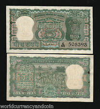INDIA 5 RUPEES P54 a 1962 DEER ANTELOPE TIGER UNC PCB SIGN ANIMAL MONEY BANKNOTE