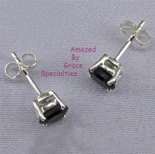 Sterling Silver Genuine Black Onyx Oval 4mm x 6mm Stud Post Earrings NEW!