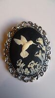 Stunning Black & Cream Hummingbird Cameo Brooch Wedding Pin Pagan Gothic