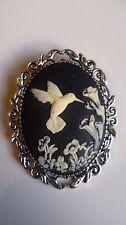 Stunning Black & Cream Hummingbird Cameo Brooch Wedding Pin Pagan