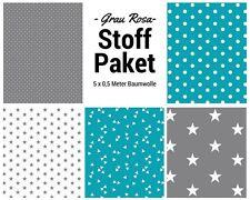 Stoffpaket türkis grau 5x (0,5 x 1,50m) Patchworkpaket Baumwolle Nähpaket Stoffe