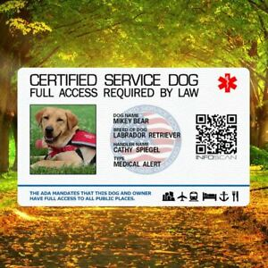 Certified Service Dog Id Card Customized Holographic ESA -