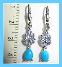 Sleeping Beauty Turquoise Tanzanite 2.55 ct Leverback Drop Earrings S Silver 925