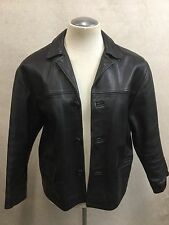 Vtg Arizona 1980s Black Knock Around Leather Horse Hide Jacket Coat