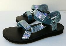 TEVA ORIGINAL UNIVERSAL Iridescent Deep Teal leather women's sandals size 11US
