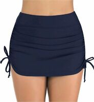Micosuza Women's High Waisted Swim Skirt Side Tie Ruched, Dark Blue, Size 12.0 d