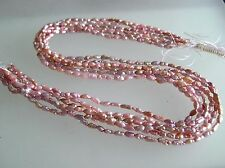 A bundle of 6 loose strands vintage freshwater thinner short rice pink pearl