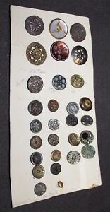Antique ASSORTED Metal Buttons ON CARD Pretty! lot l
