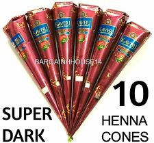 10 x Super Scuro Marrone Naturale Henna MEHANDI Tatuaggio Kit Coni Penna Incolla Body Art