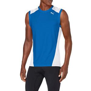 PUMA Mens Cross The Line Sleeveless Tank Top Blue Sports Training Running Vest