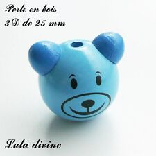 Perle en bois de 25 mm, Perle 3D Tête d'ourson : Bleu