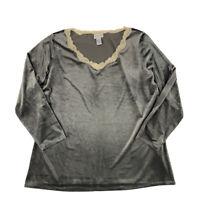 Soft Surroundings Velvet Blouse Women's Size 2X Lace Trim VNeck Long Sleeve Gray