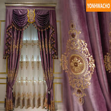 embroidered velvet living room purple cloth blackout curtain valance drape B101*