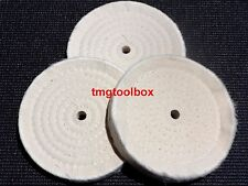 3PC 6'' BLUE XL KING BUFFING POLISHING WHEELS COTTON PADS, FOR BENCH GRINDERS