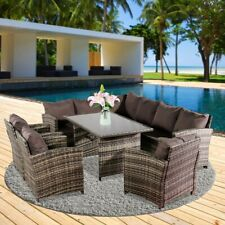 More details for oshion 9 seat rattan furniture outdoor sofa dining table with free rain cov