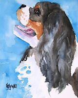 Cavalier King Charles Spaniel 8x10 Art PRINT Signed by Artist Ron Krajewski