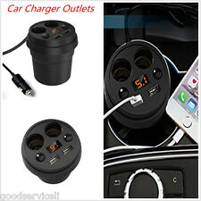 Smart 2 USB Ports Dual Cigarette Lighters Plugs LED Display Car Charger Outlets