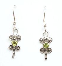 Balinese .925 Sterling Silver & Peridot Drop Earrings