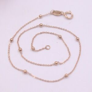 Real 18K Rose Gold Bracelet Anklet Woman's Simple Smooth Beads Rolo Chain 7.8''L