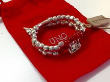 NWT Uno de 50 Silvertone Beaded Stretch Bracelet w/ Red Beads/Heart/Love $165