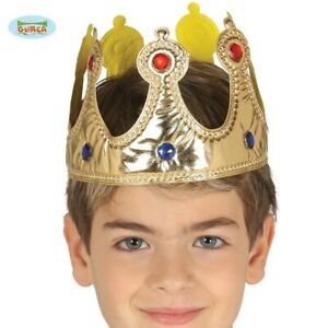 Childrens Unisex Fancy Dress Crown Gold Kids Queen or King Childs Crown New fg