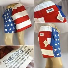 Peace Frogs American Flag Shorts L 100% Cotton Red White Blue NWT YGI 6825