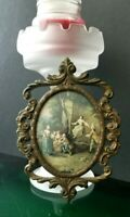 Vintage Italian Made Ornate Oval Brass Picture Frame with Victorian Photo