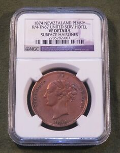 1874 New Zealand Penny United Hotel Token Curved NGC Aukland Queen Victoria