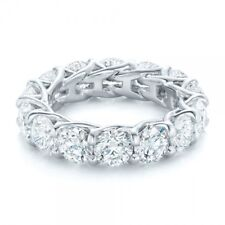 3ct Round Cut VVS1 D Diamond Eternity Wedding Band Ring 14k White Gold Over
