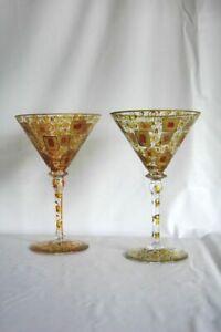 Coppia calici in vetro di Murano V. Nason & C. Decorati oro bicchieri dipinti