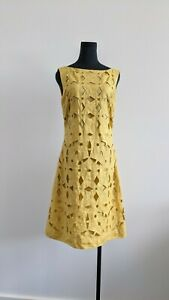 Hobbs London Mustard Yellow Embroidery boat neck Flex Shift Dress AU 10 US 6