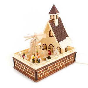 Haus mit elektrisch Pyramide Weihnachtspyramide Familie - Made im Erzgebirge -