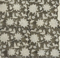 Indian 100%Cotton Voile Fabric Cream-White Sewing Hand Block Print Craft 10 yard