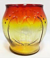 Vintage Kanawha Glass Company Embossed Eagle & 13 Stars Amberina Vase