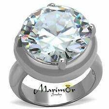 Stainless Steel Engagement Ring Sz 5-10 Womens 16.06 Ct Solitaire Cubic Zirconia