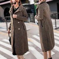 womens girls Houndstooth wool long Jacket wool long coat parka trench outwear