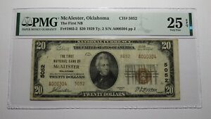 $20 1929 McAlester Oklahoma OK National Currency Bank Note Bill #5052 VF25 PMG