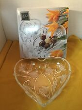 """Mikasa Bluebells,9 3/4"""" Heart Shaped Dish,Clear Heavy Glass with Frosted Flowers"""