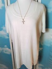 White Stag Knit Pullover Sweater Winter White Size XL 16-18 Soft Short Sleeve