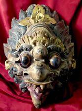 INDONESIA DEITY MYTHOLOGICAL GOD CARVED WOOD MASK GOLDS REDS BLUES GREEN