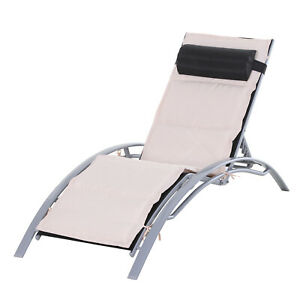 """67"""" Patio Lounge Chair Recliner Reclining Chair Chaise Pool Furniture W/ Pillow"""