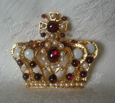 SWOBODA CROWN PIN BROOCH ~ OPAL, GARNET, PEARL~ FIT FOR ROYALTY