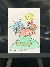ACEO Original Baby Owls Medium Black Ink Marker & Prisma on Paper Signed Artist