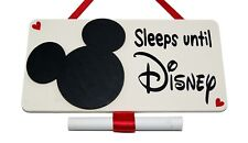 Small Sleeps until Disney Countdown plaque - Handmade wooden blackboard Plaque