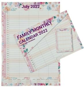 2022 Calendar Wall Monthly Planner Staff Rota Family Organiser FLOWERS