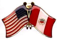 Lot Of 3 Peru Friendship Flag Lapel Pins - Peruvian Crossed Flag Pin